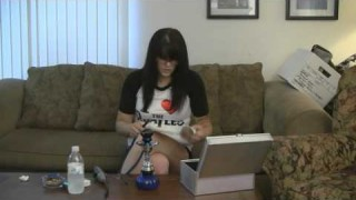 Nerd Sweet Brunette Installing Hookah Equipment