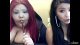Hot Curvy Brunettes Sharing Hookah